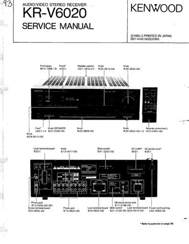 KENWOOD KR-V6020 AV STEREO RECEIVER SERVICE MANUAL INC BLK DIAG SCHEM DIAG AND PARTS LIST 30 PAGES ENG