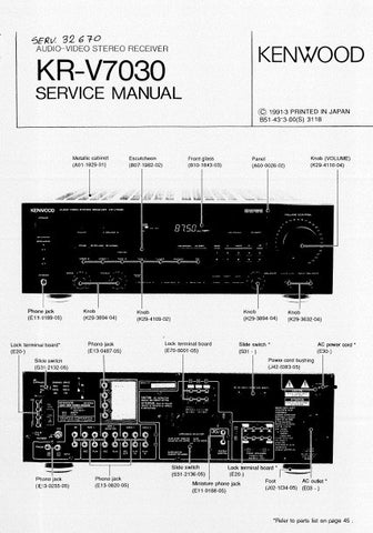 KENWOOD KR-V7030 AV STEREO RECEIVER SERVICE MANUAL INC BLK DIAG WIRING DIAG PCBS SCHEM DIAGS AND PARTS LIST 35 PAGES ENG