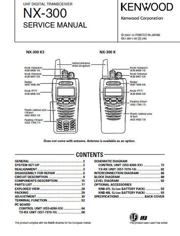 KENWOOD NX-300 UHF DIGITAL TRANSCEIVER SERVICE MANUAL INC BLK DIAGS PCBS SCHEM DIAGS AND PARTS LIST 102 PAGES ENG
