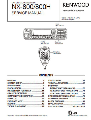 KENWOOD NX-800 NX-800H UHF DIGITAL TRANSCEIVER SERVICE MANUAL INC BLK DIAGS PCBS SCHEM DIAGS AND PARTS LIST 109 PAGES ENG