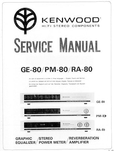 KENWOOD PM-80 STEREO POWER METER GE-80 GRAPHIC EQUALIZER RA-80 REVERBERATION AMPLIFIER SERVICE MANUAL INC PCBS SCHEM DIAGS AND PARTS LIST 15 PAGES ENG