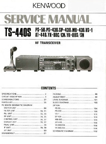 KENWOOD PS-430 PS-50 SP-430 MB-430 VS-1 AT-440 YK-88C YK-88CN YK-88S YK-88SN TS-440S HF TRANSCEIVER SERVICE MANUAL INC BLK DIAG PCBS SCHEM DIAGS AND PARTS LIST 116 PAGES ENG