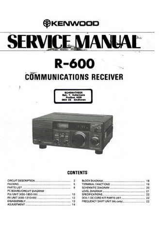 KENWOOD R-600 COMMUNICATIONS RECEIVER SERVICE MANUAL INC BLK DIAG PCBS SCHEM DIAGS AND PARTS LIST 23 PAGES ENG