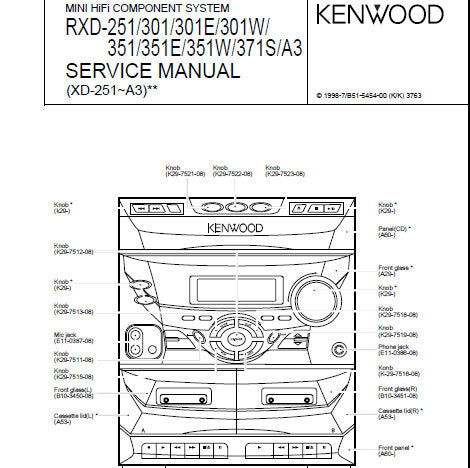 KENWOOD RXD-A3 RXD-251 RXD-301 RXD-301E RXD-351 RXD-351E RXD-351W RXD-371S MINI HIFI COMPONENT SYSTEM SERVICE MANUAL INC BLK DIAG WIRING DIAG PCB'S SCHEM DIAGS AND PARTS LIST 37 PAGES ENG