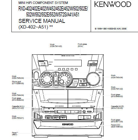 KENWOOD RXD-A41 RXD-402 402E 402W 452 452E 452W 502 502E 502W 552 552E 552W 572S A51 MINI HIFI COMPONENT SYSTEM SERVICE MANUAL INC BLK DIAG WIRING DIAG PCB'S SCHEM DIAGS AND PARTS LIST 47 PAGES ENG