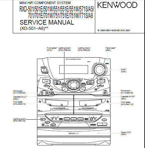 KENWOOD RXD-A5 RXD-A8 501 501E 501W 551 551E 551W 571S 701 701E 701W 751 751E 751W 771S MINI HIFI COMPONENT SYSTEM SERVICE MANUAL INC BLK DIAG WIRING DIAG PCB'S SCHEM DIAGS AND PARTS LIST 57 PAGES ENG