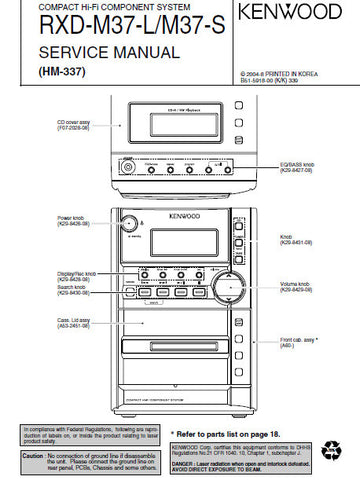 KENWOOD RXD-M37-L RXD-M37-S COMPACT HIFI COMPONENT SYSTEM SERVICE MANUAL INC PCBS SCHEM DIAGS AND PARTS LIST 20 PAGES ENG