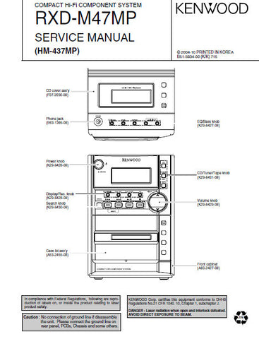 KENWOOD RXD-M47MP COMPACT HIFI COMPONENT SYSTEM SERVICE MANUAL INC PCBS SCHEM DIAGS AND PARTS LIST 22 PAGES ENG