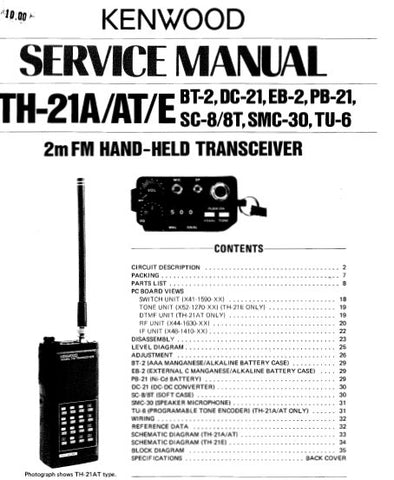KENWOOD TH-21A TH-21AT TH-21E BT-2 DC-21 EB-2 PB-21 SC-8 SC-8T SMC-30 TU-6 TRANSCEIVER SERVICE MANUAL INC BLK DIAG PCBS SCHEM DIAGS AND PARTS LIST 36 PAGES ENG