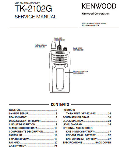 KENWOOD TK-2102G VHF FM TRANSCEIVER SERVICE MANUAL INC BLK DIAG PCBS SCHEM DIAG AND PARTS LIST 42 PAGES ENG