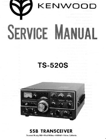 KENWOOD TS-520S SSB TRANSCEIVER SERVICE MANUAL INC BLK DIAG PCBS SCHEM DIAG AND PARTS LIST 57 PAGES ENG