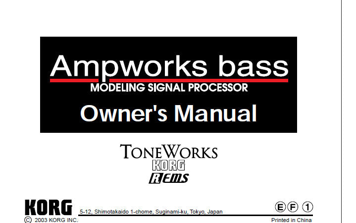 KORG AMPWORKS BASS MODELLING SIGNAL PROCESSOR OWNER'S MANUAL 4 PAGES ENG FRANC JAP DEUT