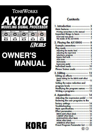 KORG AX1000G MODELLING SIGNAL PROCESSOR OWNER'S MANUAL INC CONN DIAG AND TRSHOOTGUIDE 23 PAGES ENG