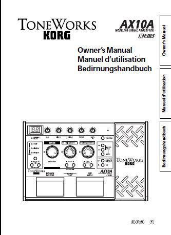 KORG A10A MODELLING SIGNAL PROCESSOR OWNER'S MANUAL INC CONN DIAGS AND TRSHOOTGUIDE 39 PAGES ENG FRANC DEUT