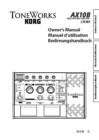 KORG A10B MODELLING SIGNAL PROCESSOR OWNER'S MANUAL INC CONN DIAGS AND TRSHOOTGUIDE 40 PAGES ENG FRANC DEUT