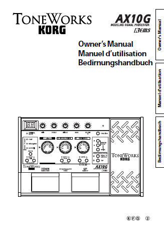 KORG A10G MODELLING SIGNAL PROCESSOR OWNER'S MANUAL INC CONN DIAG AND TRSHOOTGUIDE 40 PAGES ENG FRANC DEUT