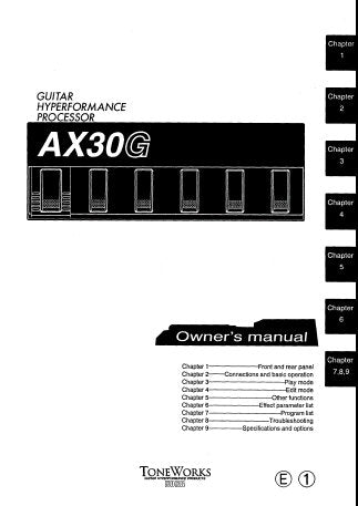 KORG AX30G GUITAR HYPERFORMANCE PROCESSOR OWNER'S MANUAL INC CONN DIAG AND TRSHOOTGUIDE 36 PAGES ENG