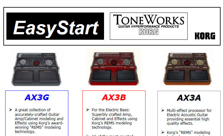 KORG AX3A AX3B AX3G GUITAR HYPERFORMANCE EASY START 3 PAGES ENG
