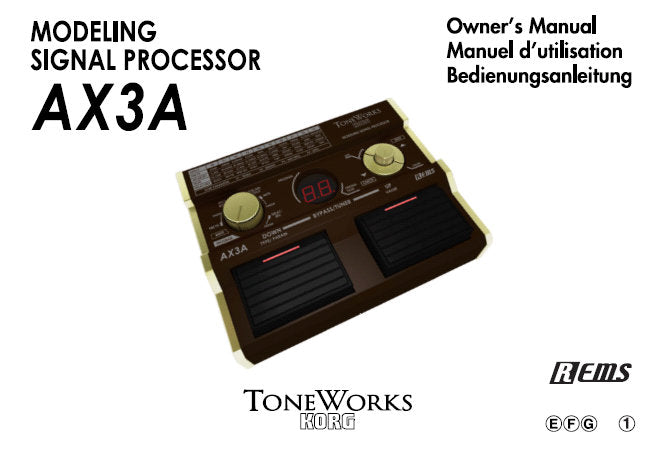 KORG AX3A MODELLING SIGNAL PROCESSOR OWNER'S MANUAL INC CONN DIAGS AND TRSHOOT GUIDE 36 PAGES ENG FRANC DEUT