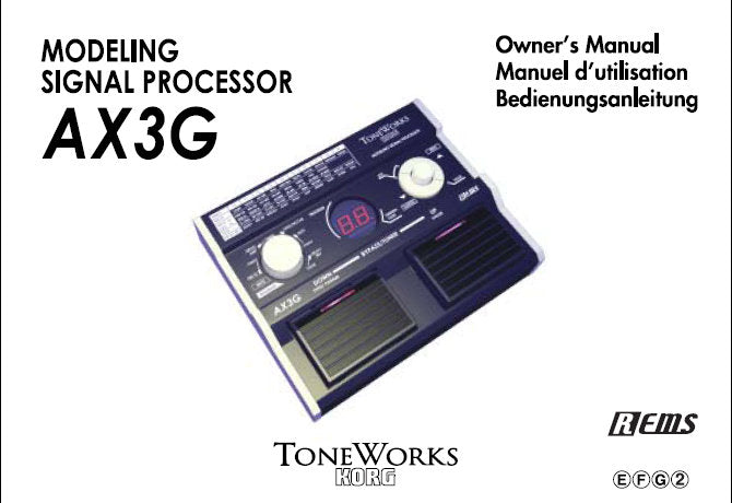 KORG AX3G MODELLING SIGNAL PROCESSOR OWNER'S MANUAL INC CONN DIAGS AND TRSHOOTGUIDE 36 PAGES ENG FRANC DEUT