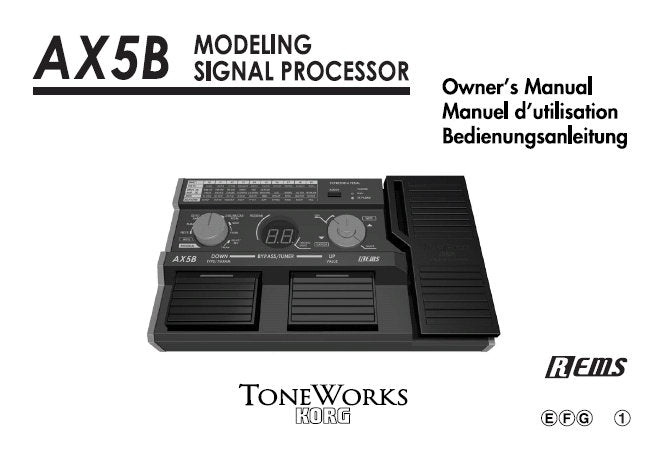 KORG AX5B MODELLING SIGNAL PROCESSOR OWNER'S MANUAL INC CONN DIAGS AND TRSHOOTGUIDE 43 PAGES ENG FRANC DEUT