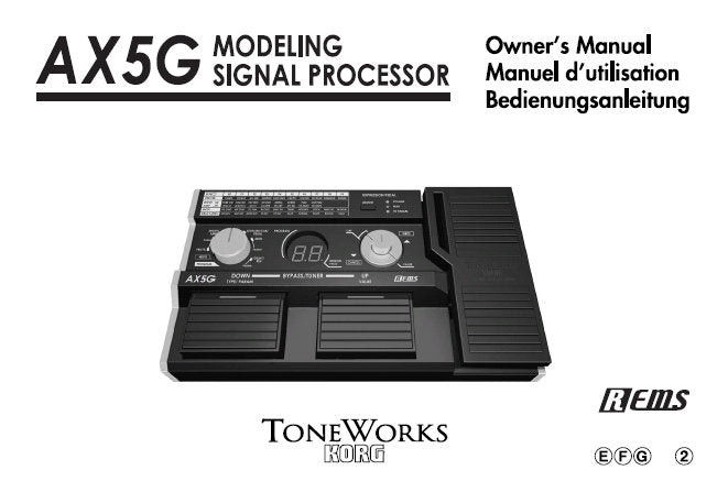 KORG AX5G MODELLING SIGNAL PROCESSOR OWNER'S MANUAL INC CONN DIAGS AND TRSHOOTGUIDE 43 PAGES ENG FRANC DEUT