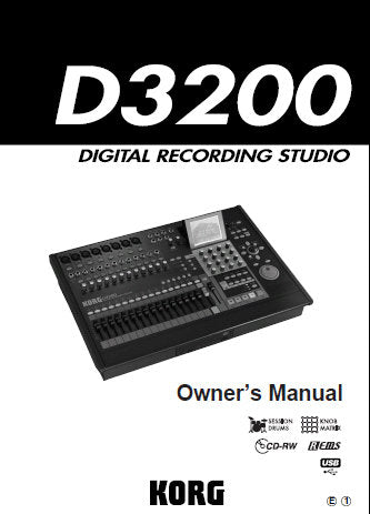KORG D3200 DIGITAL RECORDING STUDIO OWNER'S MANUAL INC CONN DIAG BLK DIAG AND TRSHOOT GUIDE 200 PAGES ENG