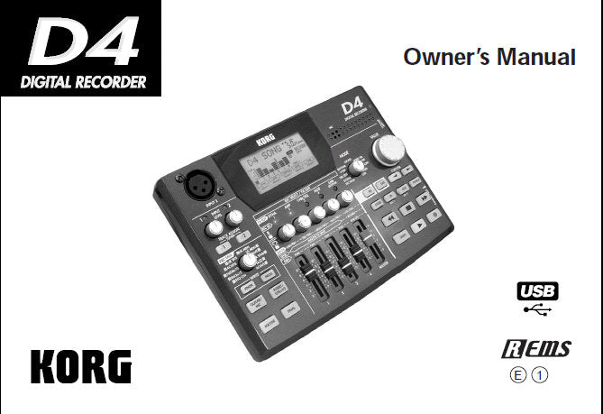 KORG D4 DIGITAL RECORDER OWNER'S MANUAL INC CONN DIAG AND TRSHOOT GUIDE 99 PAGES ENG