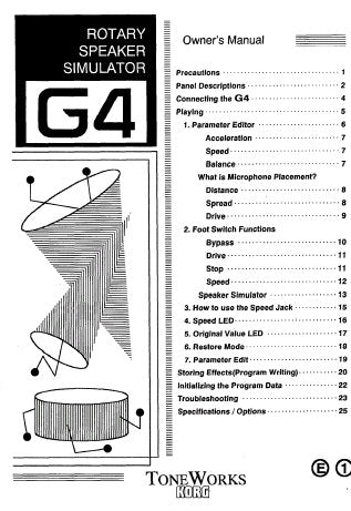 KORG G4 ROTARY SPEAKER SIMULATOR OWNER'S MANUAL INC CONN DIAGS AND TRSHOOT GUIDE 56 PAGES ENG
