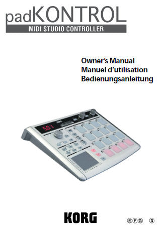 KORG KPC1 PAD CONTROL MIDI STUDIO CONTROLLER OWNER'S MANUAL INC CONN DIAGS AND TRSHOOT GUIDE 95 PAGES ENG FRANC DEUT