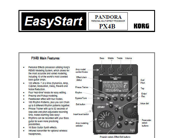 KORG PX4B PANDORA PERSONAL MULTI EFFECT PROCESSOR EASY START 4 PAGES ENG