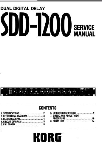 KORG SDD-1200 DUAL DIGITAL DELAY SERVICE MANUAL INC BLK DIAG SCHEMS DIAGS PCBS AND PARTS LIST 19 PAGES ENG