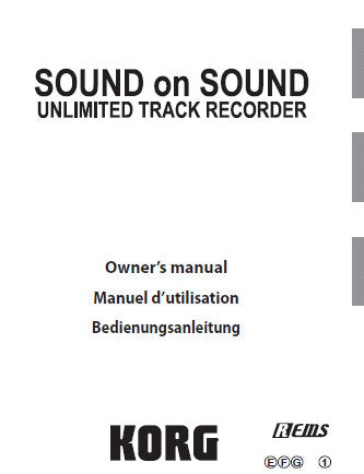 KORG SOUND ON SOUND UNLIMITED TRACK RECORDER OWNER'S MANUAL INC TRSHOOT GUIDE 170 PAGES ENG