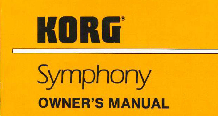 KORG SYMPHONY ORCHESTRA MODULE OWNER'S MANUAL INC TRSHOOT GUIDE 32 PAGES ENG