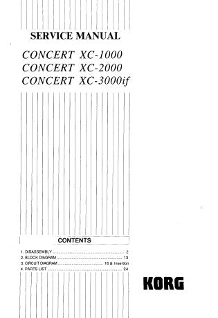 KORG XC-1000 XC-2000 XC3000if CONCERT PIANO SERVICE MANUAL INC BLOCK DIAGS SCHEM DIAGS PCB'S AND PARTS LIST 37 PAGES ENG