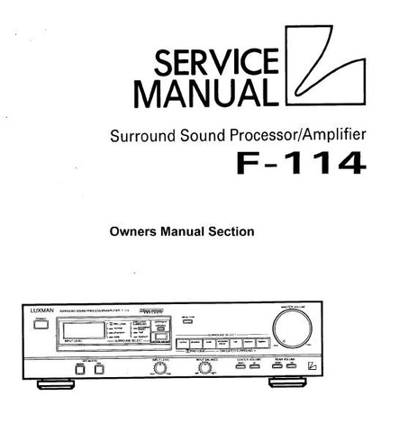 LUXMAN F-114 SURROUND SOUND PROCESSOR AMP OWNER'S MANUAL  INC TRSHOOT GUIDE 15 PAGES ENG