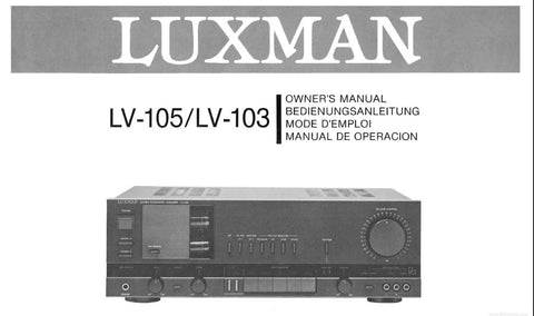 LUXMAN LV-103 LV-105 STEREO INTEGRATED AMP OWNER'S MANUAL INC CONN DIAGS 23 PAGES ENG DEUT FRANC ESP