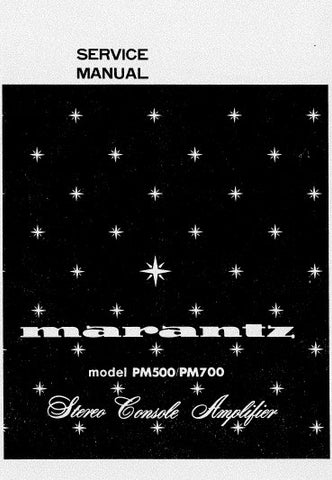 MARANTZ PM-500 PM-700 STEREO CONSOLE AMPLIFIER SERVICE MANUAL INC BLK DIAGS PCBS SCHEM DIAGS AND PARTS LIST 23 PAGES ENG