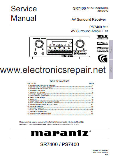 MARANTZ PS7400 AV SURROUND AMPLIFIER SR7400 AV SURROUND RECEIVER SERVICE MANUAL INC BLK DIAG PCBS SCHEM DIAGS AND PARTS LIST 96 PAGES ENG