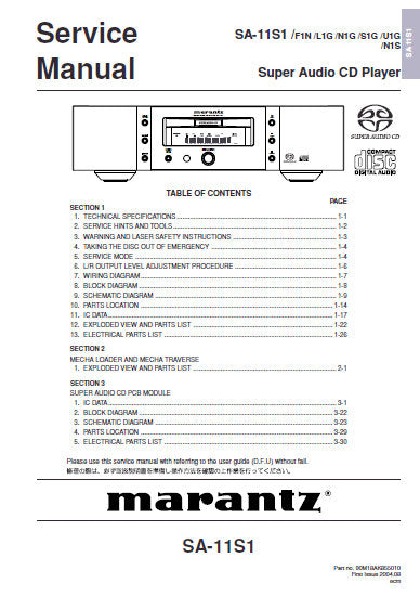 MARANTZ SA-11S1 SUPER AUDIO CD PLAYER SERVICE MANUAL INC BLK DIAG PCBS SCHEM DIAGS AND PARTS LIST 80 PAGES ENG