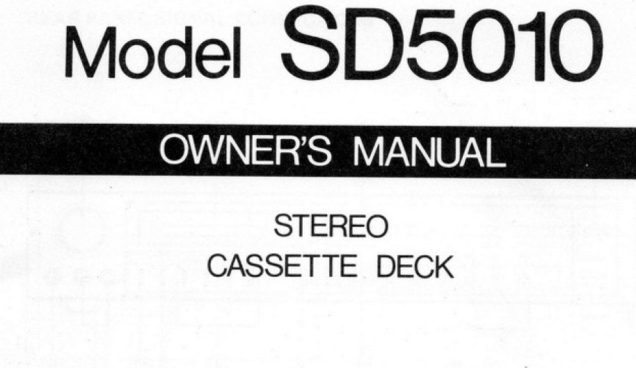 MARANTZ SD5010 STEREO CASSETTE DECK OWNER'S MANUAL INC SCHEM DIAG 15 PAGES ENG
