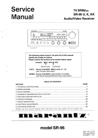 MARANTZ SR-96 74 SR96 AV SURROUND RECEIVER SERVICE MANUAL INC BLK DIAG PCBS SCHEM DIAGS AND PARTS LIST 52 PAGES ENG