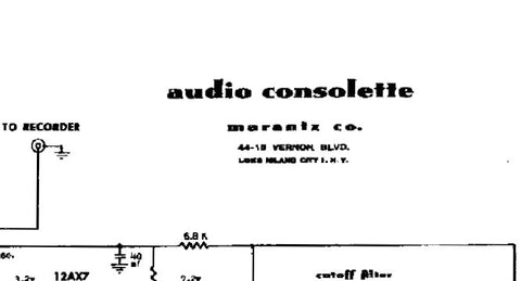 MARANTZ 1 AUDIO CONSOLETTE PREAMP SCHEMATIC DIAGRAM 1 PAGE ENG