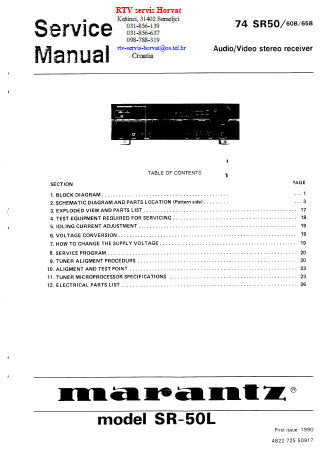 MARANTZ 74 SR-50L SR50 SR60B SR65B AV STEREO RECEIVER SERVICE MANUAL INC BLK DIAG SCHEM DIAG PCBS AND PARTS LIST 36 PAGES ENG