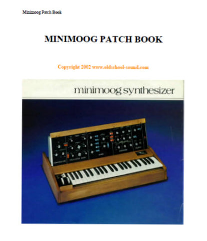 MOOG MINIMOOG SYNTHESIZER PATCHBOOK 28 PAGES ENG