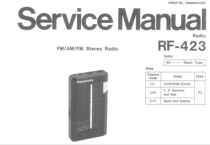 NATIONAL RF-423 FM AM FM RADIO SERVICE MANUAL INC SCHEM DIAG CIRC BOARD AND WIRING CONN DIAG AND PARTS LIST 6 PAGES ENG