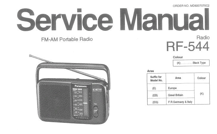 NATIONAL RF-544 FM AM PORTABLE RADIO SERVICE MANUAL INC SCHEM DIAG PCB AND WIRING CONN DIAG AND PARTS LIST 12 PAGES ENG