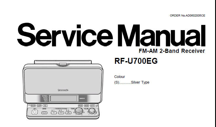 NATIONAL RF-U700EG FM AM 2 BAND RECEIVER SERVICE MANUAL INC SCHEM DIAGS PCB'S WIRING CONN DIAG AND PARTS LIST 26 PAGES ENG