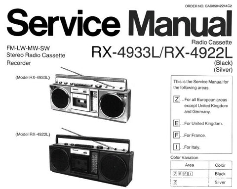 NATIONAL RX-4922L RX-4933L FM LW MW SW STEREO RADIO CASSETTE RECORDER SERVICE MANUAL INC SCHEM DIAG PCB'S WIRING CONN DIAG AND PARTS LIST 12 PAGES ENG