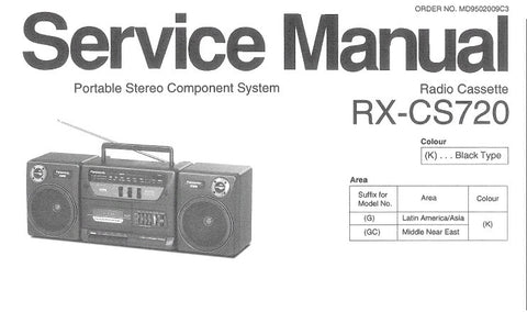NATIONAL RX-CS720 PORTABLE STEREO COMPONENT SYSTEM SERVICE MANUAL INC SCHEM DIAG PCB'S WIRING CONN DIAG AND PARTS LIST 24 PAGES ENG